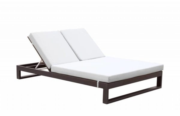 Amber Modern Outdoor Double Chaise, Double Chaise Lounge Outdoor