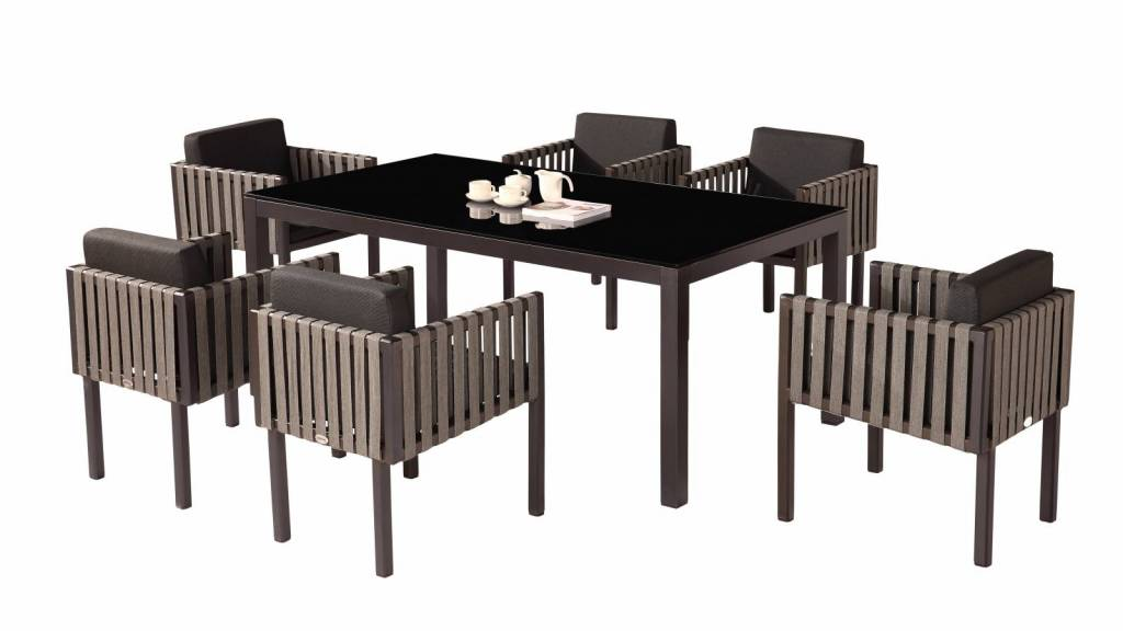 Amber Modern Outdoor Dining Set For 6 With Side Straps Icon