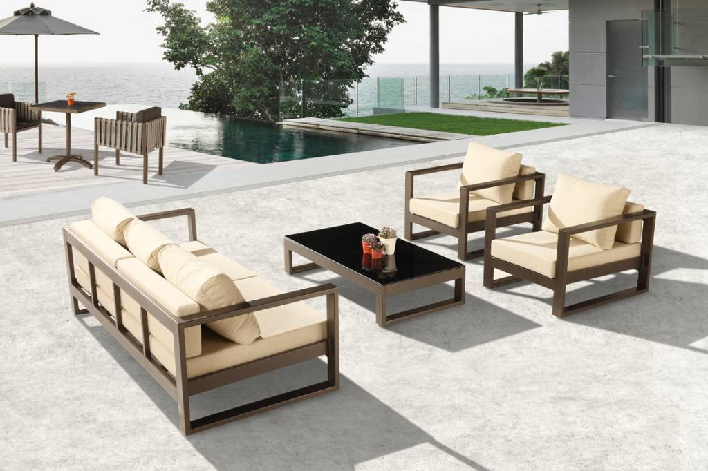 Amber Modern Outdoor Sofa Set with 2 Club Chairs - Icon ... on Outdoor Loveseat Sets id=66188